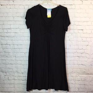 New!  Black dress w smocking & raglan sleeves